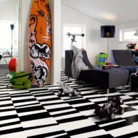 svartvitt golv